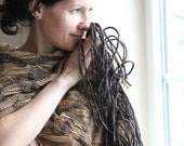 Sale 30% - Nuno felted scarf with fringe sand and charcoal shawl beige silk with black wool gift under 150 USD - aureliaLT