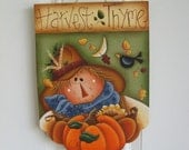 Harvest Thyme Scarecrow, Primitive Handpainted Wood Sign, Home Decor, Thanksgiving, Fall - DAWNSPAINTING