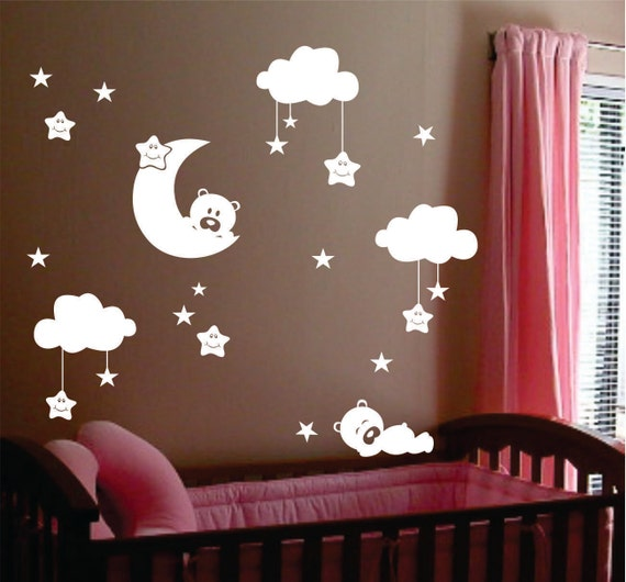 No such thing as gender neutral anymore babycenter for Amazing look with moon and stars wall decals