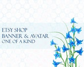 CIJ SALE Blue Flowers Etsy Shop Banner and Matching Avatar One of A Kind Digital - SimpleCleanDesigns