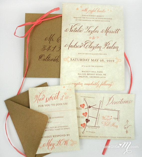 Rustic Sweet Coral Wedding Invitation Suite