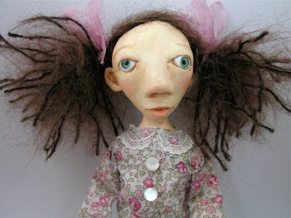 Art Doll cloth and clay mohair tea stained dress bobby socks pony tail mountain girl ooak