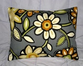 Pillow. Gray. Orange. Green. Cream. Flowers. 14 x 18. Accent Pillow Cover - BethDanielleDesigns