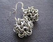 Chainmaille Disco Ball Earrings Japanese Weave Porcupine Dodecahedron