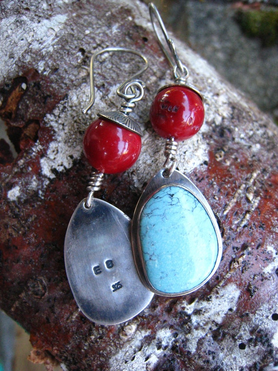 Turquoise and Red Coral Silver Earrings Handmade