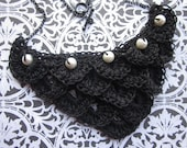 Hand Crocheted Crocodile Stitch Necklace - Black - White Glass Beads