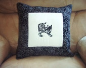 Pillow Cover Damask Cats 1 in White and Black - nhquiltarts