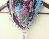 Plum-Aqua Blue-Dark Purple-Pink  mixed colorful,  Turkish Oya  Scarf,authentic, romantic, elegant, fashion,weddings,bridal,vintage,rustic - asuhan