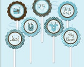 Editable Baby Shower Sweet Circles - It's a Boy Cupcake Toppers - Printable File by Sweetly Sweet - mysweetlysweet