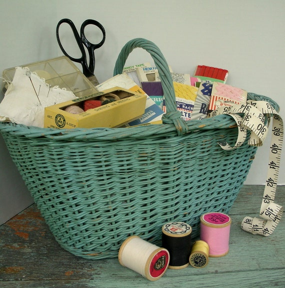 Wicker Sewing Basket and Collection of Sewing Items Included