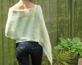Poncho Shawl Shoulderwarmer Light Green/Gray Knitted SZ S-M - marilodesigns