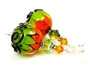 Lampwork Earrings, Glass Earrings, Orange Green Earrings, Halloween Earrings, Glass Bead Earrings - BeadzandMore