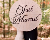 Just Married Wedding Parasol- As Seen In Weddings Unveiled Magazine - iDoOriginals