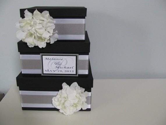 3 tiered Modern Wedding Card Box with personalized tag You Customize Colors and Flowers- shown black, silver and white with hydrangeas