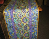 Quilted Table Runner Art Deco Turquoise Purple and Green - TahoeQuilts