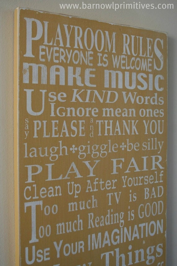 Playroom Rules Sign- Barn Owl Primatives