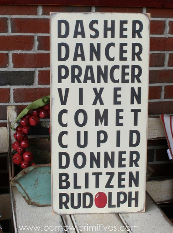 Christmas Reindeer Typography Word Art Sign in Vintage Style