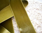 "3 yards of vintage silky velvet ribbon in light moss, rayon,1 1/2"" wide twilight - TextileArtLace"