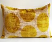Sukan / SALE, Decorative Pillow,Throw Pillow Cover, Handmade Silk Velvet Ikat Pillow Cover, 15x22 inch, Beige, Yellow, Gold Color