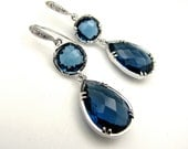 Sapphire blue crystal quartz pendant drop and connectors with white gold cz hook earrings  - Free US shipping