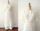 vintage 1900s dress - edwardian wedding dress / ivory lace tea dress - shopREiNViNTAGE