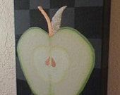 Apple on Charcoal Background Acrylic with Metal Leaf Kitchen Art - kustomkate