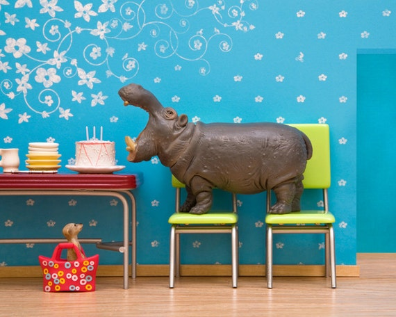hippo art, diorama, retro kitchen, blue, birthday - Hungry, Hungry Hippo 8 x 10