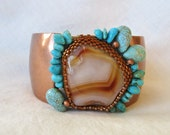 Arizona Sunrise OOAK Beaded Cuff Cream Coppery Orange Brown with Magnesite Beads and Chips of Turquoise - hepzi