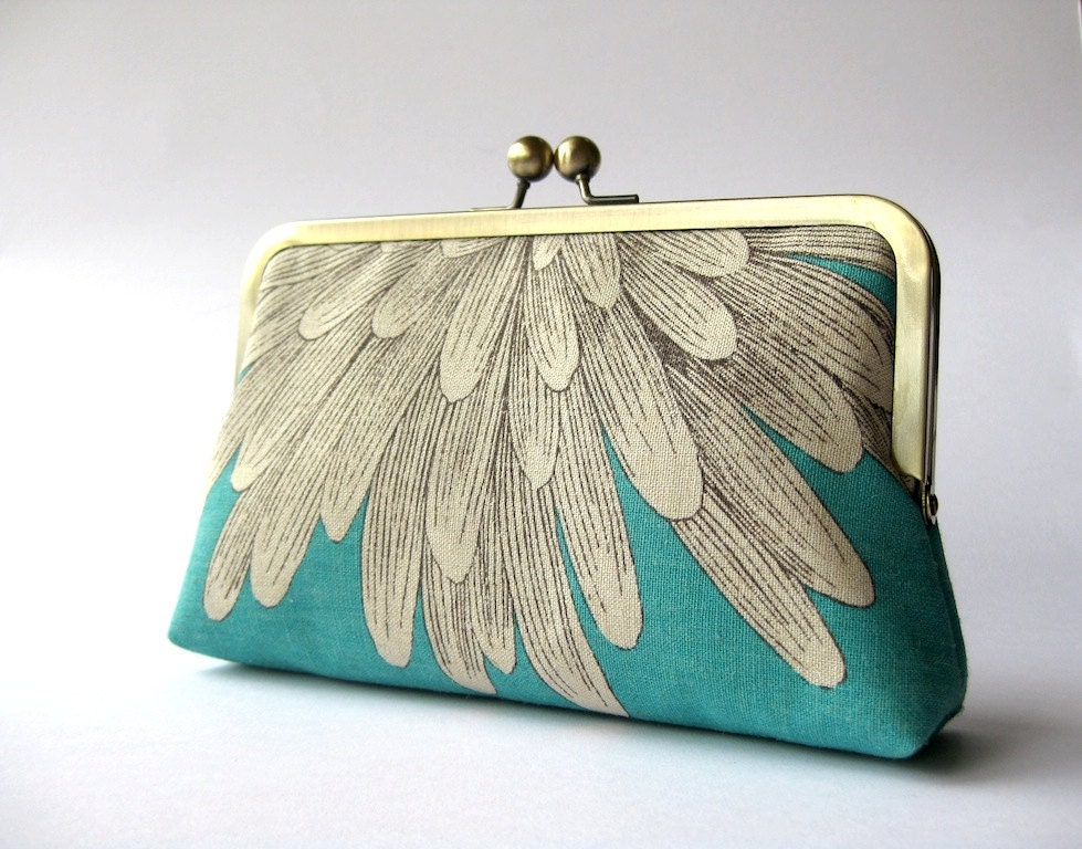 Chrysanthemum Silk Lined Aqua Floral Clutch Bag Noir