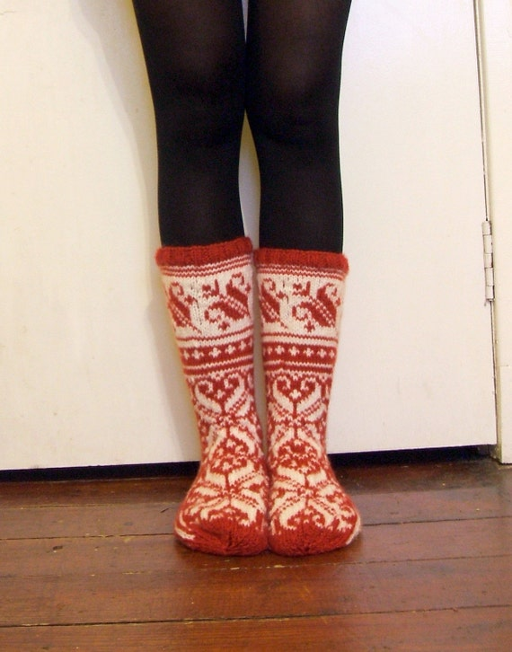 Hand-knitted Red Warm Winter Socks