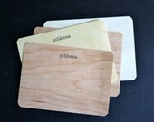 Custom Wood Veneer Letterpress Stationery - blueeyebrowneye