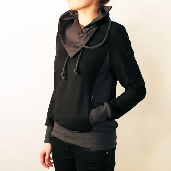 Womens Black Sweatshirt With Cowl Neck and Gray Details