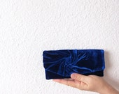 Elegant and Retro  Blue Clutch Bag in Royal Blue  velvet plush vintage style, Unique, Handmade - MariesCorner
