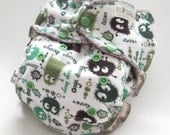 One Size Fitted Diaper, Limited Edition Green Ooga Booga on Cotton Velour with Bamboo Velour Inner