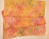 Autumn Hued Hand Marbled Square Silk Scarf