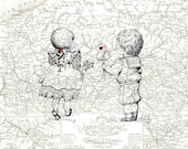 Simple Treasures , Boy and Girl Toddlers , 1837 Map of Pennsylvania , Print Pen and Ink Original Art Sketch