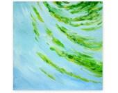 Green ripple, original painting, abstract, small, green, blue water, acrylic, 5x5 - AzureDayArt