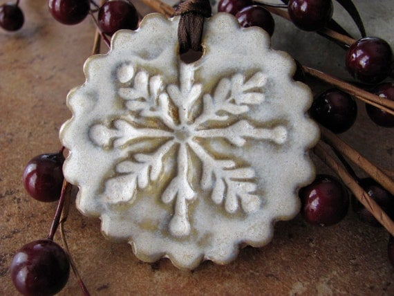 30% OFF - Snowflake Ornament in Show Crystal Glaze - Hand Ceramic Ornament