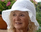 White Crochet Summer Brimmed Hat - All Cotton - Handmade Original - hatsbyanne1942