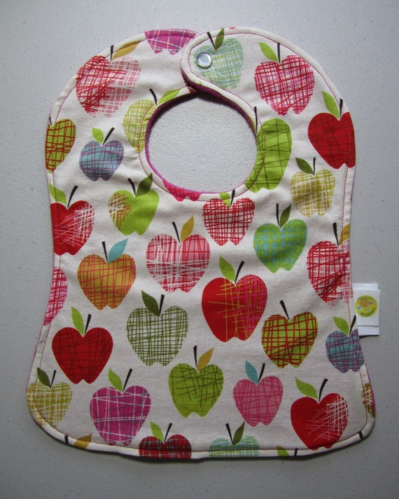 Baby Girl Apple Bib - Apple Crosshatch Fabric Snap Bib - Girl - Pink Farmdale Orchard - Alexander Henry - Crosshatch Apples