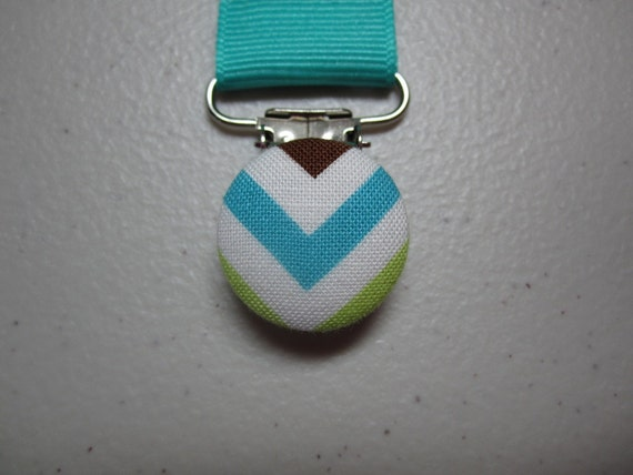 Chevron Zigzag Pacifier Clip - Calypso Turquoise Grosgrain Ribbon Paci Clip - Baby Boy or Girl - Optional Add On Embroidery