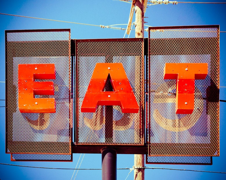 Eat Restaurant Sign Retro Diner Sign Food by Squintphotography