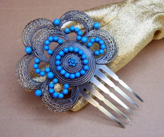 hair accessory from antique spanish and indian collection with turquoise beads and silver metal