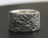 lace ring no 11 - delicate lace texture silver ring - ready to ship in size 7