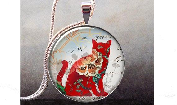 Red Calico Cat pendant charm, cat necklace resin pendant, photo pendant, cat jewelry (361)