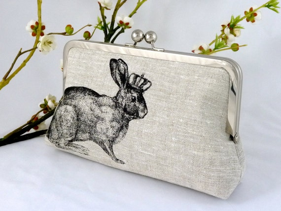 Linen Rabbit of Royalty Clutch in Black