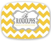 Personalized Yellow and Grey Chevron Platter