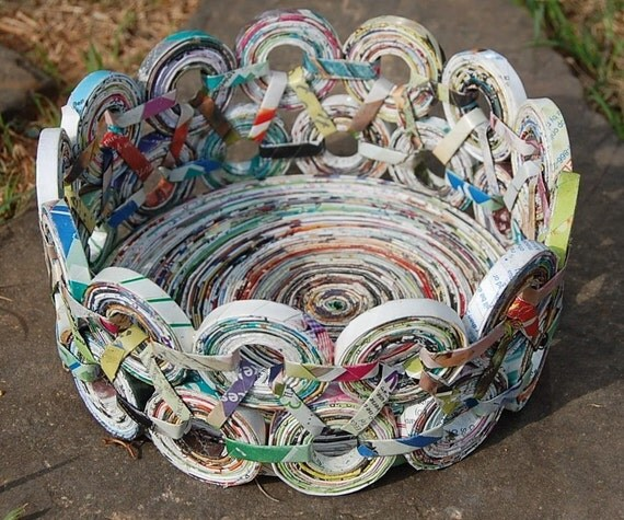 MY TOGGLES Coiled paper BASKET from recycled Paper Large n. 17