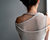 Light beige transparent okapi sweater top,Summer fashion, Paris fashion, France, minimalist,assymetric - okapiknits