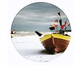 red fishing boat, seaside landscape photography, 8x10 art print, beach, winter coast, bathroom decor, circle, blue, red - bialakura